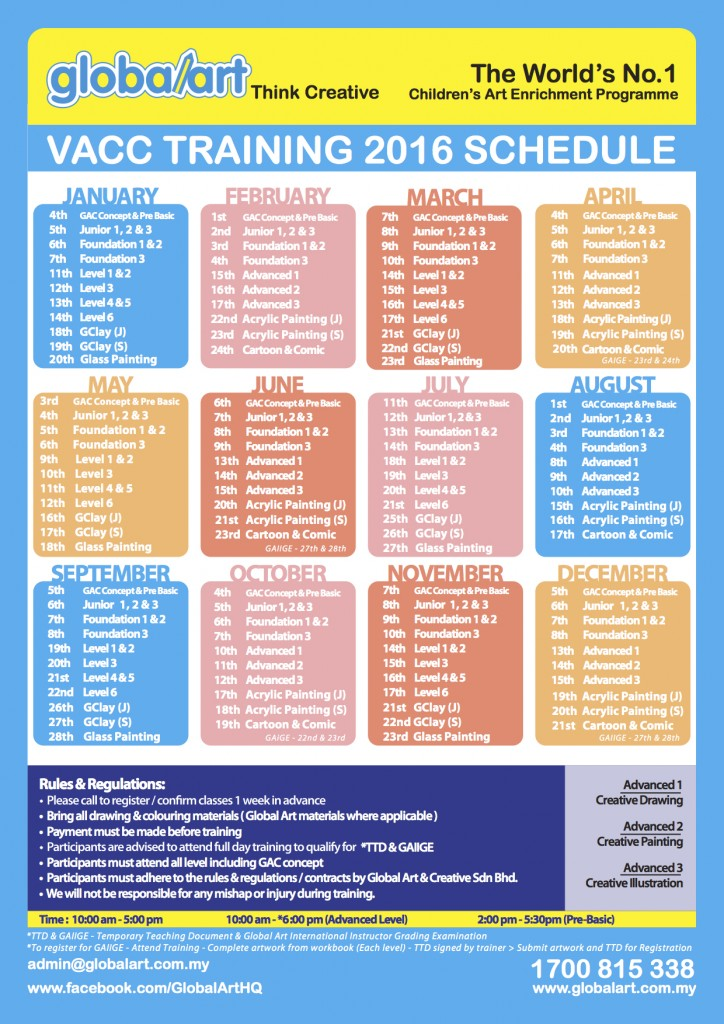 2016 _ VACC Teacher Training Schedule